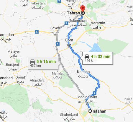 نزدیک ترین جهت اصفهان به تهران
