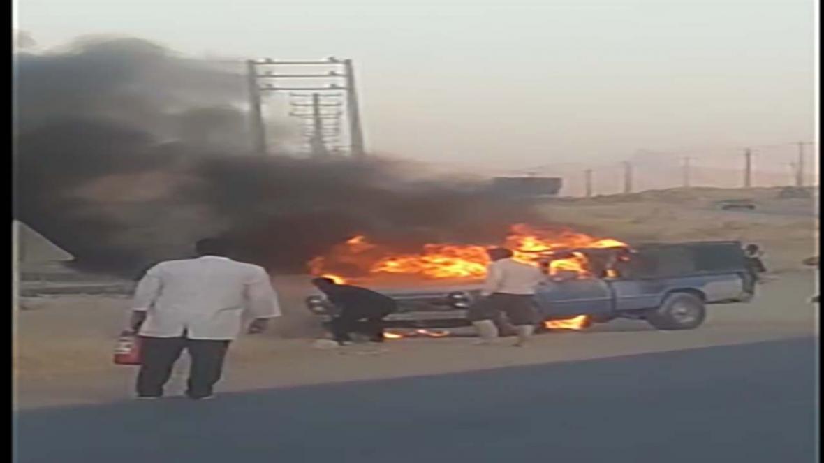 آتش سوزی نیسان آبی در کامفیروز