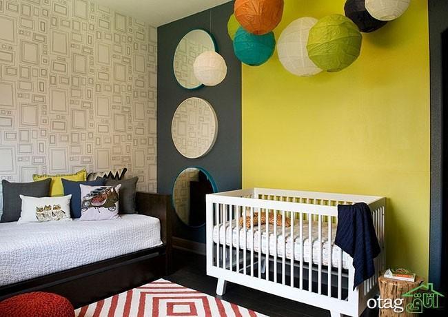 دکوراسیون اتاق نوزاد با تم زرد و خاکستری ، عکس 2016